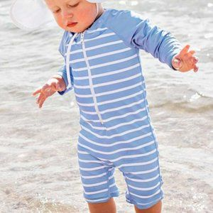 Ruggedbutts Boys Blue Stripe Rash Guard Swimsuit